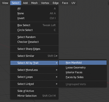 Select all Non-manifolds geometry in Blender